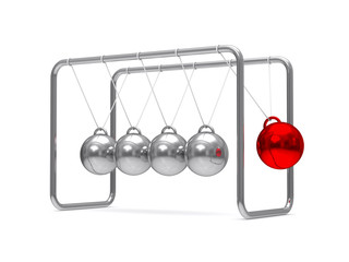 Balancing balls on white background. Isolated 3D image