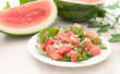 Plate with juicy watermelon salad