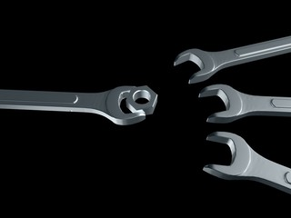Spanners and nut on black - 3D illustration
