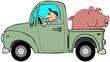 Truck hauling a hog