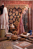 display of carpet and beautiful fabric
