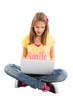 Mädchen isoliert mit Laptop