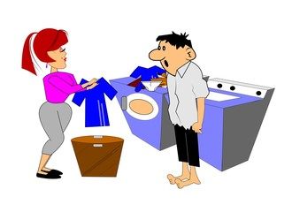 couple washing clothes over white
