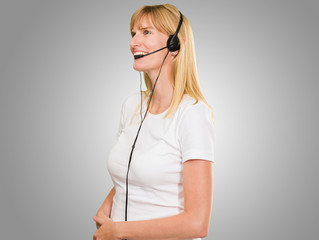 Happy Woman On Headset