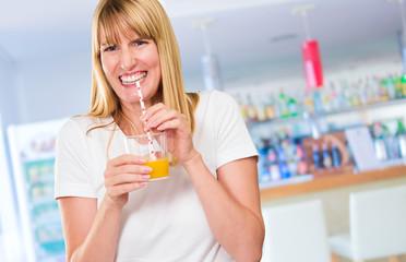 Woman Drinking Juice