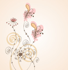 Flowers fantasy. Cute background  for your text.
