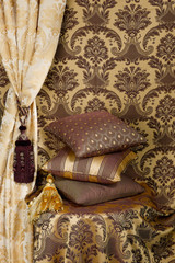 Beautiful cushions and curtain