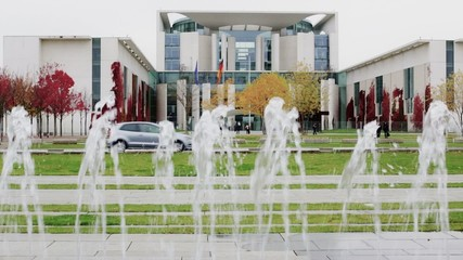 Berlin Bundeskanzleramt (Germany) with water fountain in HD