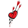 Three cupid arrows sticking in the heart