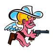 Little angry Cowboy Cupid with gun