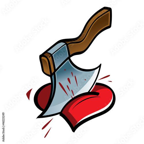 Big sharp axe choping the heart