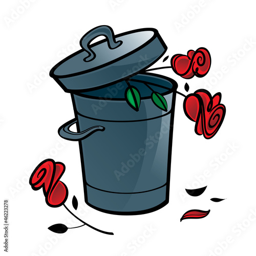 Three red roses in the trash bin