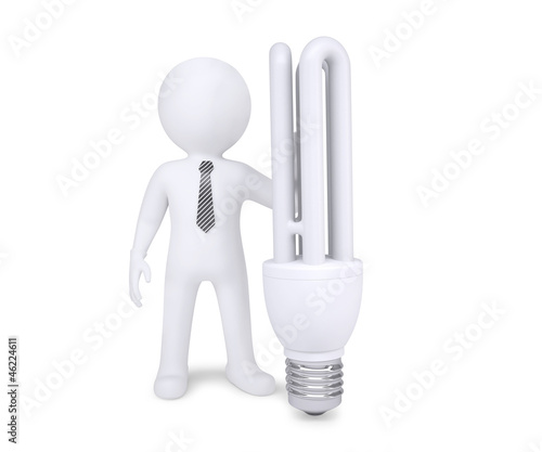 White man next to energy saving bulbs