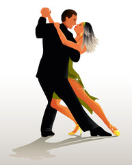 Couple dancing Tango - vector illustration