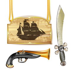 Pirate ship over wood banner with sword and gun