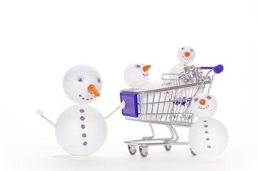 snowman shopping cart