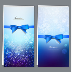 Elegant greeting cards with blue bows and copy space. Vector ill