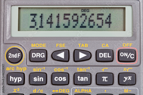 display of scientific calculator with mathematical functions