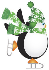 Penguin with Green Hat Ice Skating Illustration