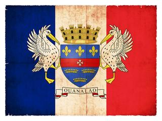Grunge-Flagge der Karibikinsel Saint Barthelemy (Französisch)