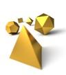 Platonische Körper in 3D - Edel Gold 2