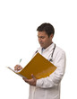 Portrait of young doctor with medical reports.