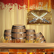 Pirate swords over wood banner and barrels