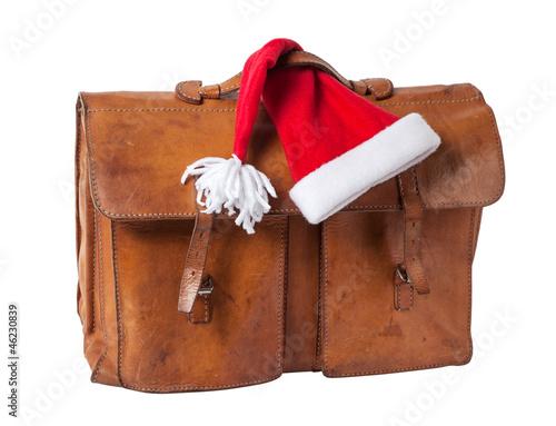Briefcase and Santa Hat