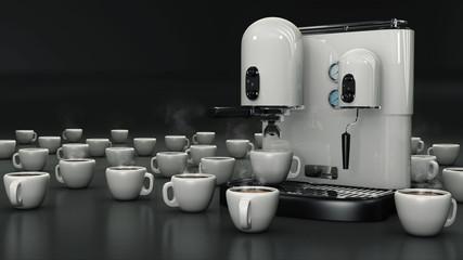 Macchina per caffè con tazze bianco