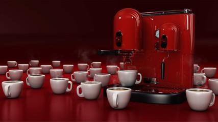 Macchina per caffè rosso con tazze