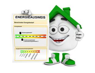 Kleines 3D Haus Grün - Energieausweis Konzept 1