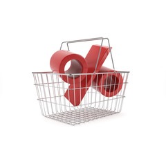 Shopping basket with red discount sign