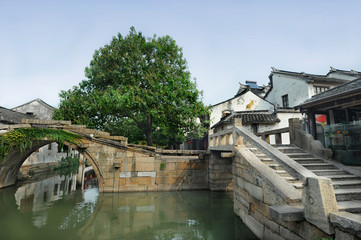 Famous twin bridge in Zhouzhuang watertown near Suzhou, China