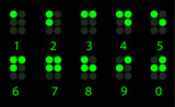 Set of digital green braille number