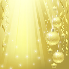 Golden background with christmas decorations