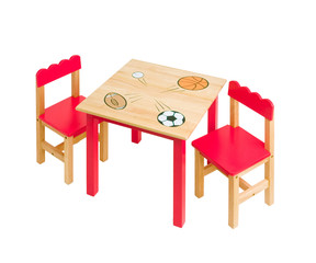 nice table and chairs in red color for kid