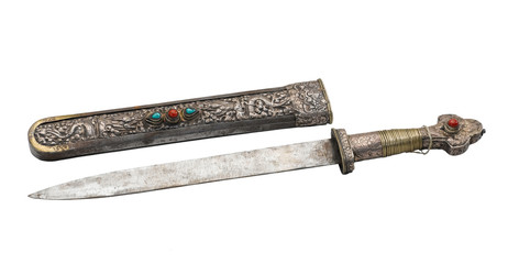 Ancient knife and engraving scabbard