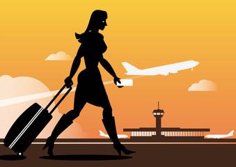 Hübsche Frau am Flughafen