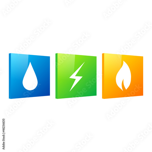 water, electricity, gas (blue, green, orange version)