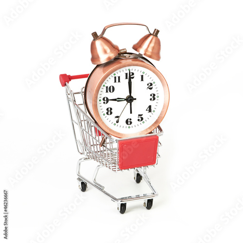 shopping cart with clock