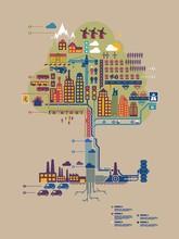 bunte Vektor-Stadt in Form eines Baumes, Stadt Infografik,