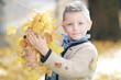 Kleiner Junge spielt mit Laub