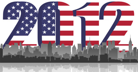 New York City on 2012 US flag background. vector fle