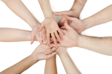 diverse group of hands together