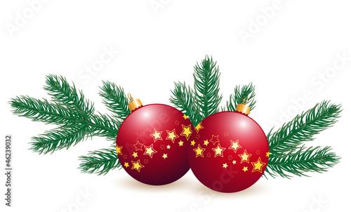 Vektor weihnachtskugeln mit tannenzweigen - Bilder weihnachtskugeln ...
