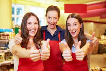 Erfolgreiches Supermarkt-Team