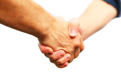 Closeup of people shaking hands isolated on white