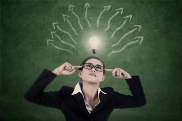 Business woman with bright light and mind map