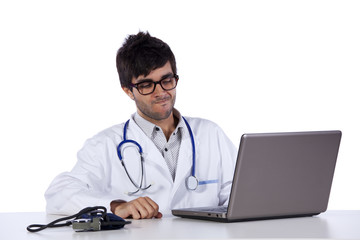 frendly young doctor working with his laptop