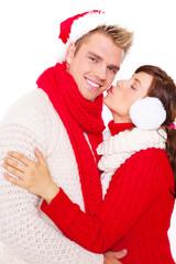 kuss weihnachten paar